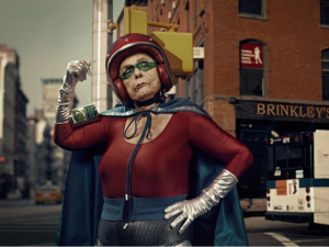 A-funny-photo-by-Sacha-Goldberger-of-his-grandmother-in-a-superhero-outfit-posing-like-one-tough-old-girl